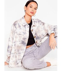 womens off the re-corduroy oversized tie dye shirt - grey