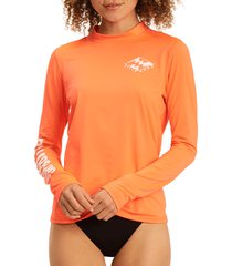 billabong core loose fit logo rashguard, size large in heat wave at nordstrom