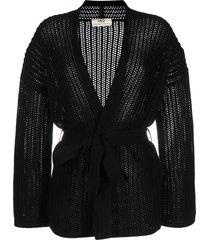 sminfinity chunky-knit cashmere cardigan - black