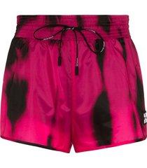 off-white high waist tie dye shorts - pink