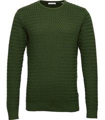 field o-neck structured knit - gots gebreide trui met ronde kraag groen knowledge cotton apparel