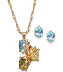 charter club multi-stone wrapped pendant necklace & stud earrings set, created for macy's