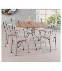 conjunto de mesa de jantar com 6 cadeiras vancouver linho carvalho e bege
