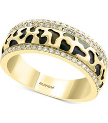 diamond animal print pattern ring (1/4 ct. t.w.) in 14k gold