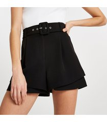 river island womens black belted double layer shorts