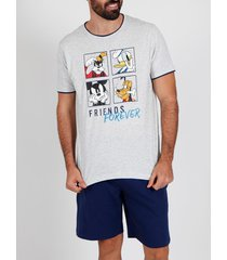 pyjama's / nachthemden admas for men pyjama kort t-shirt friends forever disney blauw admas