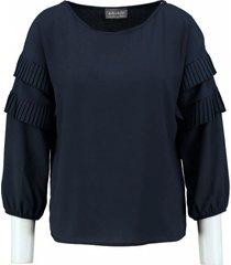 amélie & amélie blauwe polyester blouse 3/4 mouw