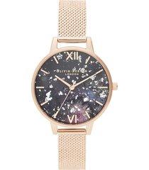 olivia burton women's celestial mesh watch - rose gold