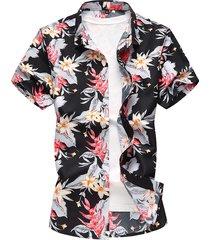camicia estiva da uomo manica corta con stampa hawaiana allentata di grandi dimensioni
