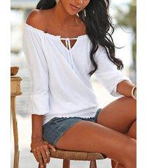 atado diseño fruncido del hombro 3/4 longitud blusa con mangas