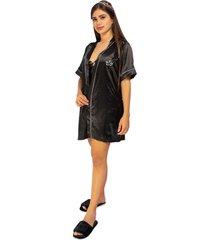 kimono dama color negro womanpotsherd ref: coat satin