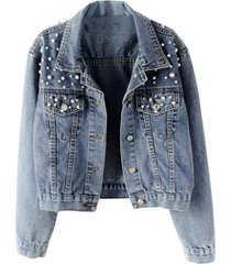 chaqueta mujer jean perlas 0227 azul claro