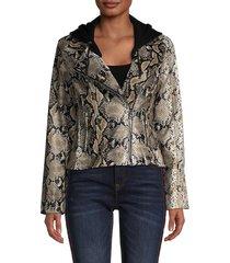 vigoss women's snakeskin-print full-zip jacket - snake skin print - size m