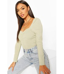 puff shoulder ruched front sweater, mint