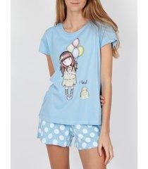 pyjama's / nachthemden admas pyjama shorts t-shirt i wish santoro blue