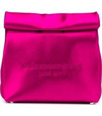 alexander wang satin lunch bag clutch - pink