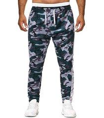 camo printed drawstring casual pants