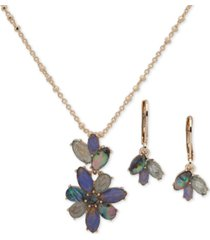"anne klein navette stone drop earrings & pendant necklace set, 16"" + 3"" extender"