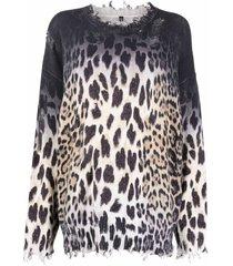 r13 leopard-print raw-cut sweatshirt