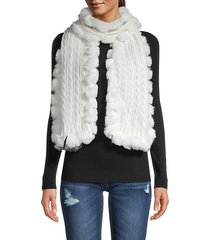 faux fur-trim cable-knit scarf