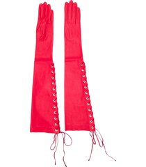 unravel project long lace-up gloves - red