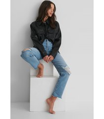 trendyol ripped straight jeans - blue