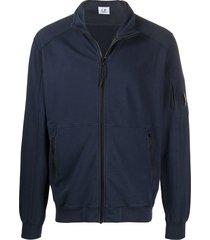 c.p. company high-neck zip-through sweatshirt - blue