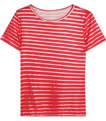 camiseta estampada a rayas color rojo, talla l