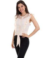 blusa crepe babado feminino