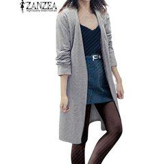 zanzea manera de las mujeres de manga larga casual cardigan largo flojo de la chaqueta de la capa de foso parka top (gris) -gris