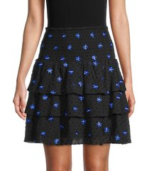 maje women's embroidered-flower ruffled tiered skirt - black - size 3 (l)