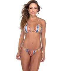 biquãni flavia donadio beachwear ripple dupla face st barth estampado colorido com bojo removãvel - laranja/marrom/ - feminino - poliamida - dafiti