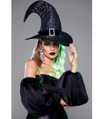 womens baddest witch in town star buckle hat - black