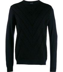 giorgio armani suéter chevron de tricô - azul