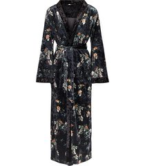 mila velvet print long kimono