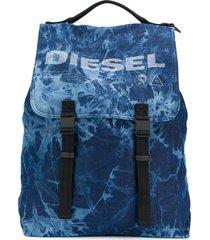 diesel logo buckle backpack - blue