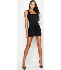 basic square neck bodycon mini dress, black