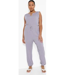 plus geribbelde jumpsuit met zoom inkeping, grey marl
