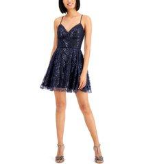 blondie nites juniors' glitter lace-up-back dress