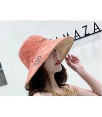 sombrero para el sol femenino exterior de doble cara naranja