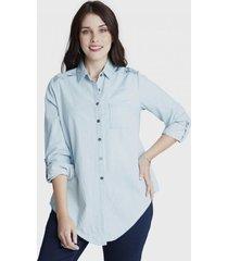 blusa manga larga con bordado de mezclilla curvi