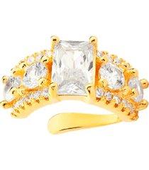 brinco piercing multi cravejado com cristal retangular banhado a ouro 18k
