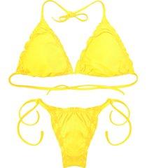 biquãni cortininha divance amarelo   calcinha ripple 612 - amarelo - feminino - poliamida - dafiti