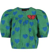 mini rodini green girl blouse with blue hearts