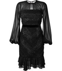 three floor diamond sheer panel dress - black