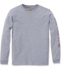 carhartt shirt women workwear logo l/s heather grey-xs