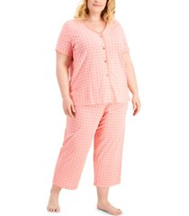 charter club plus size cotton capri pant pajama set, created for macy's