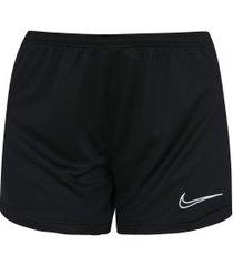 shorts nike dry academy k - feminino - preto/branco