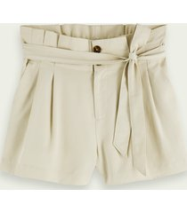 scotch & soda drapey mid-rise belted paper bag shorts