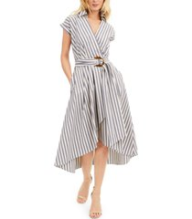 marella belted striped high-low dress